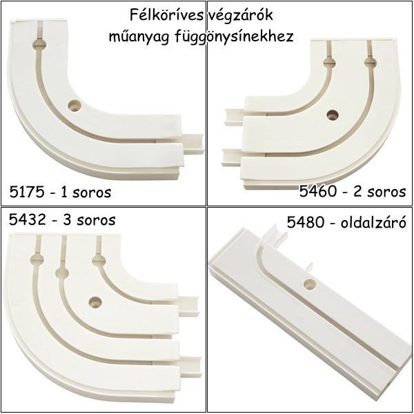 Félkörív végzáróval műanyag függönysínhez 2 db/csomag