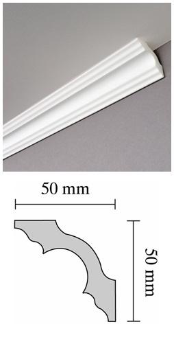 Díszléc A 50 polisztirol, mennyezeti 2 méter