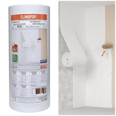 Szigetelőtapéta fűrészporos tapéta felülettel, közvetlenül festhető 3,75 m2/tekercs Climapor
