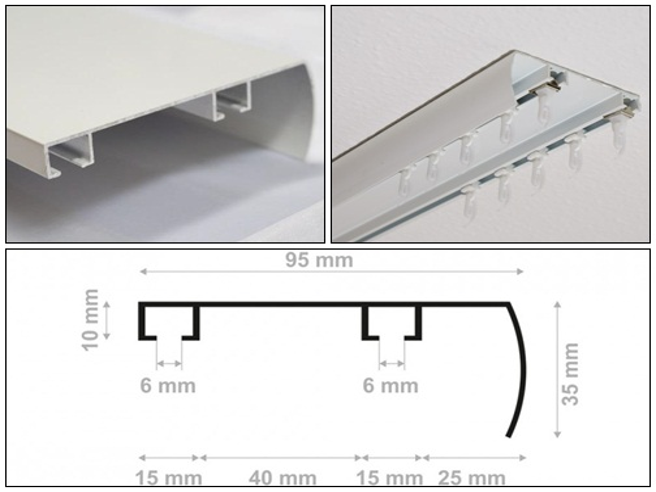 Íves előlapos függönysín szett 2 soros fehér egyedi méret