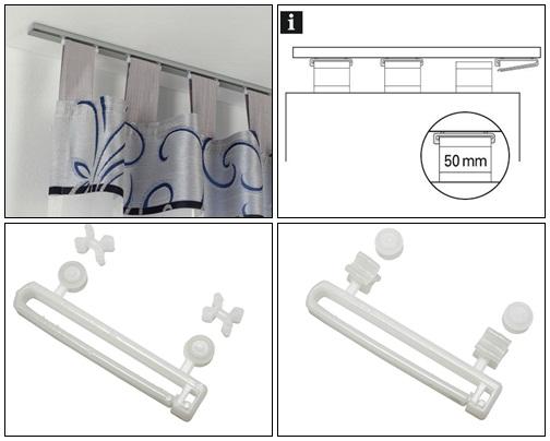 Füles függöny tartó görgővel 10 db/csomag