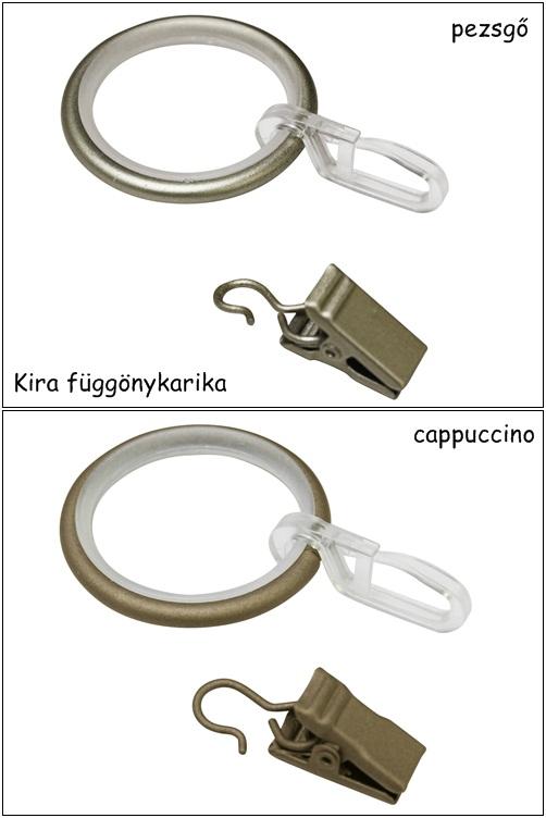 Függönykarika fém Ø19 mm-es karnisokhoz, csúszóbetéttel 10 db/csomag Kira